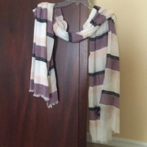 Lavender, navy, white and pink striped scarf